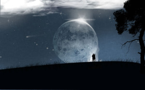 Super Moon Romantic Wallpaper